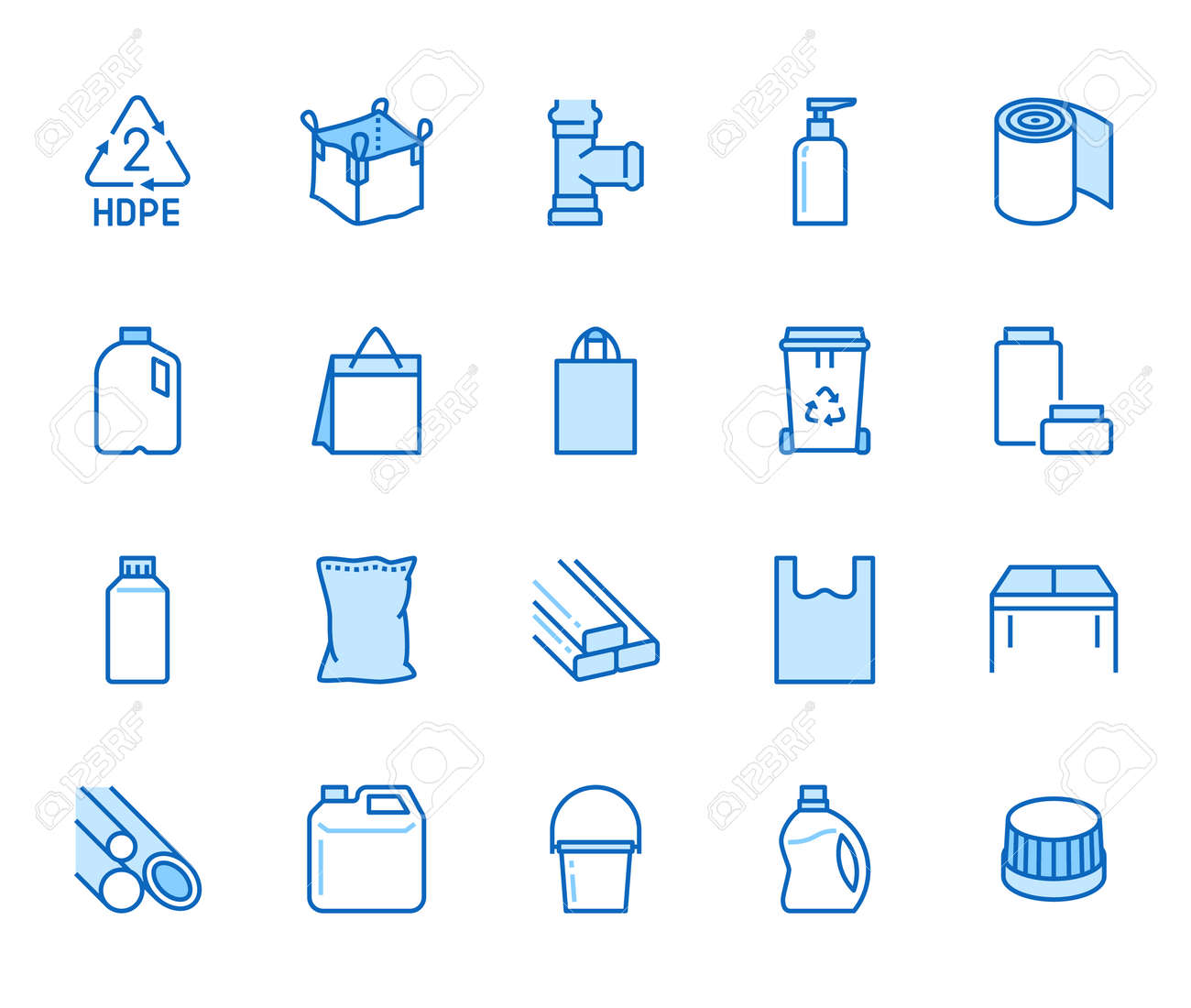 High density polyethylene flat line icons. HDPE products - jerry can, plastic canister, pipes, milk jug, garbage container vector illustrations. Thin signs of packaging. Blue color, Editable Stroke. - 163160950