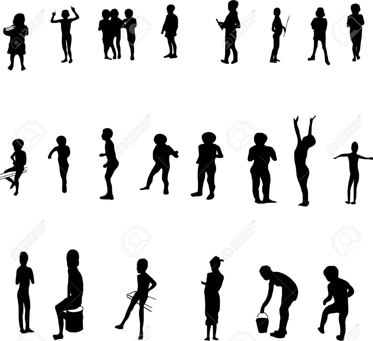 silhouettes of children Stock Vector - 6982469