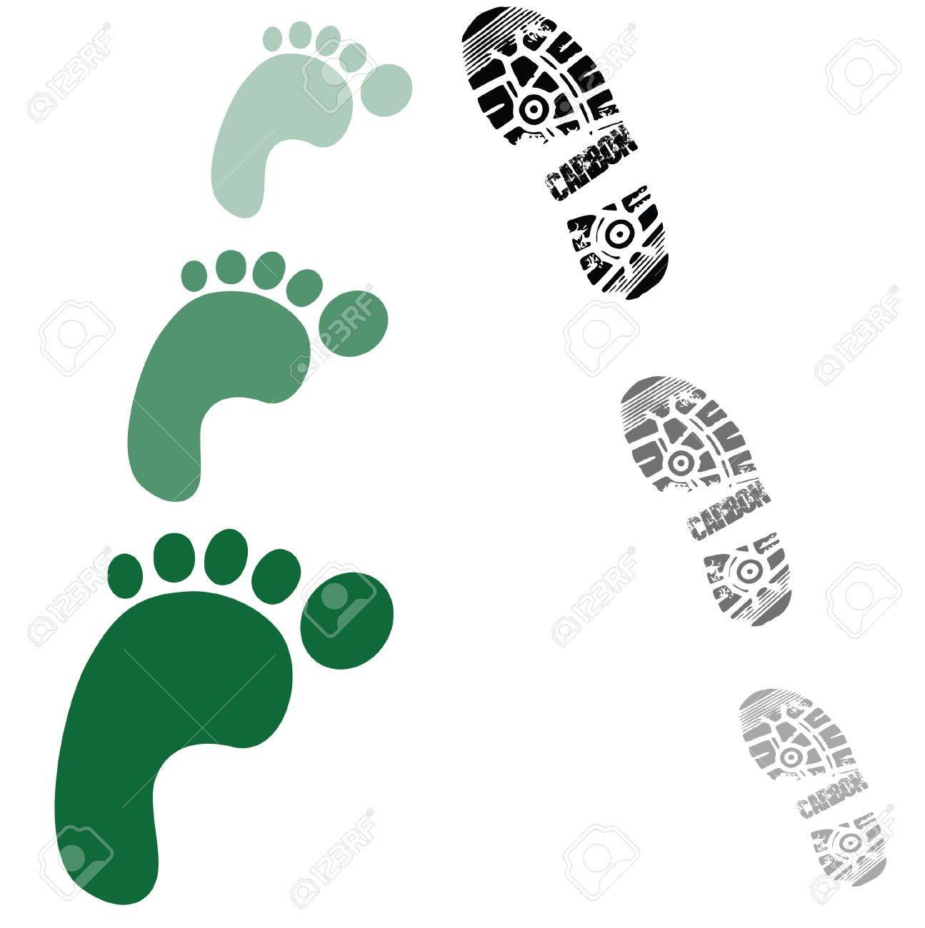 green foot prints and shoe prints Stock Vector - 12779026