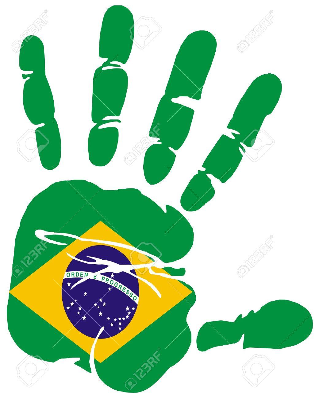 Hand Print Impression Of Flag Of Brazil