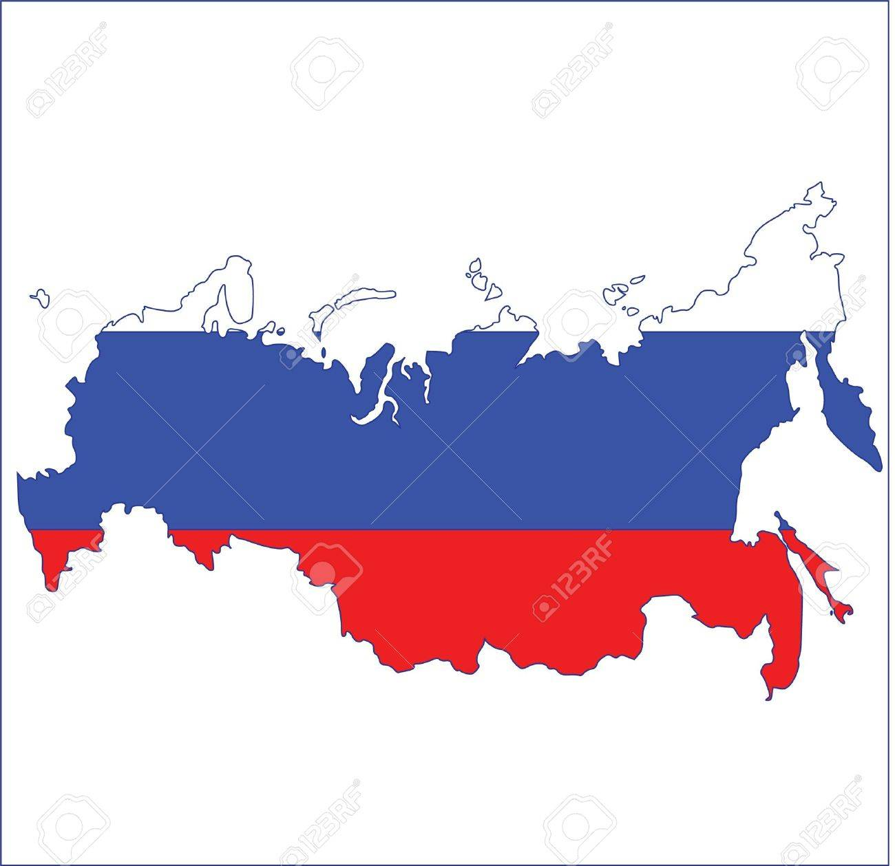 map flag of russia Stock Vector - 13351929