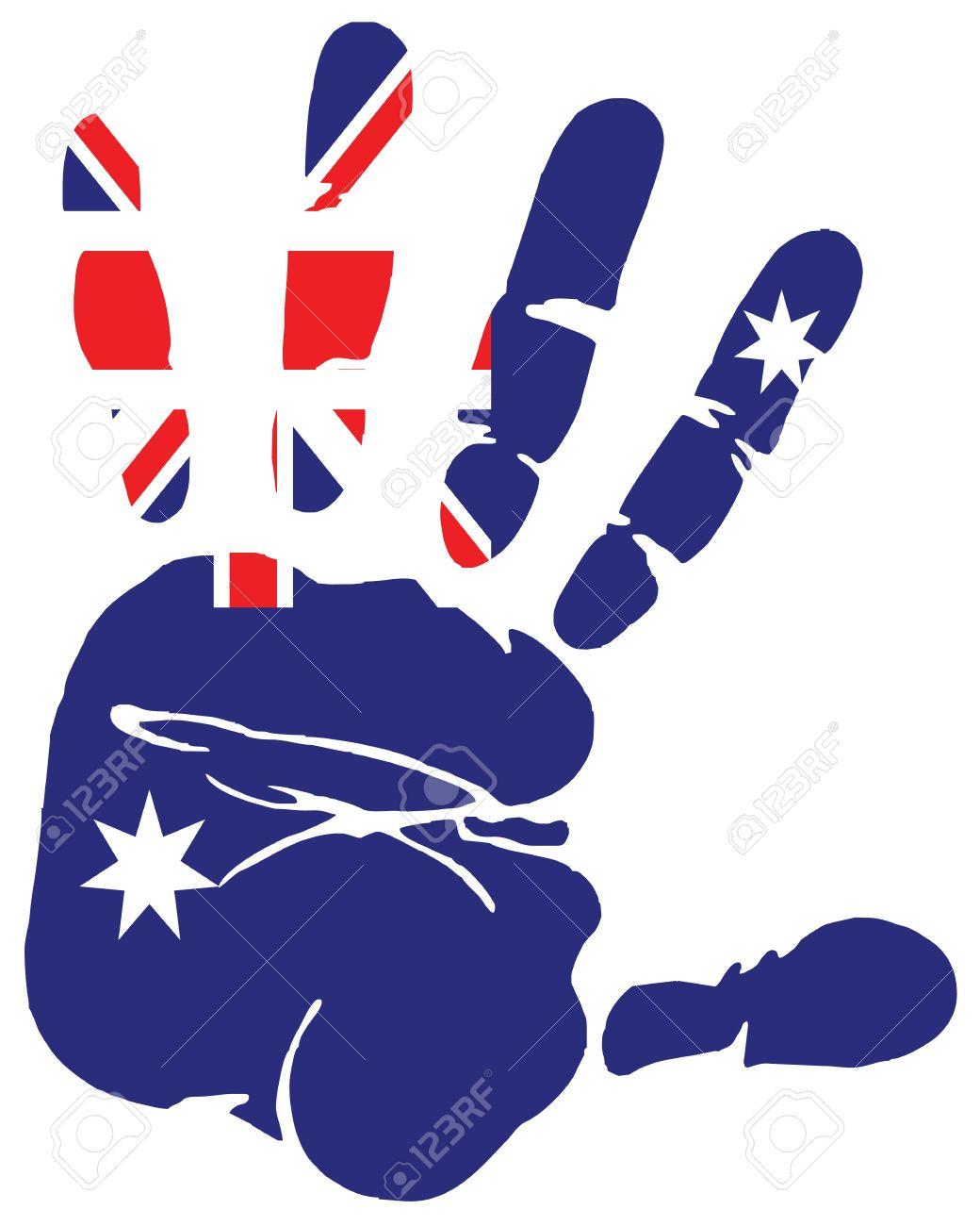 hand print of australia flag colors royalty free cliparts vectors