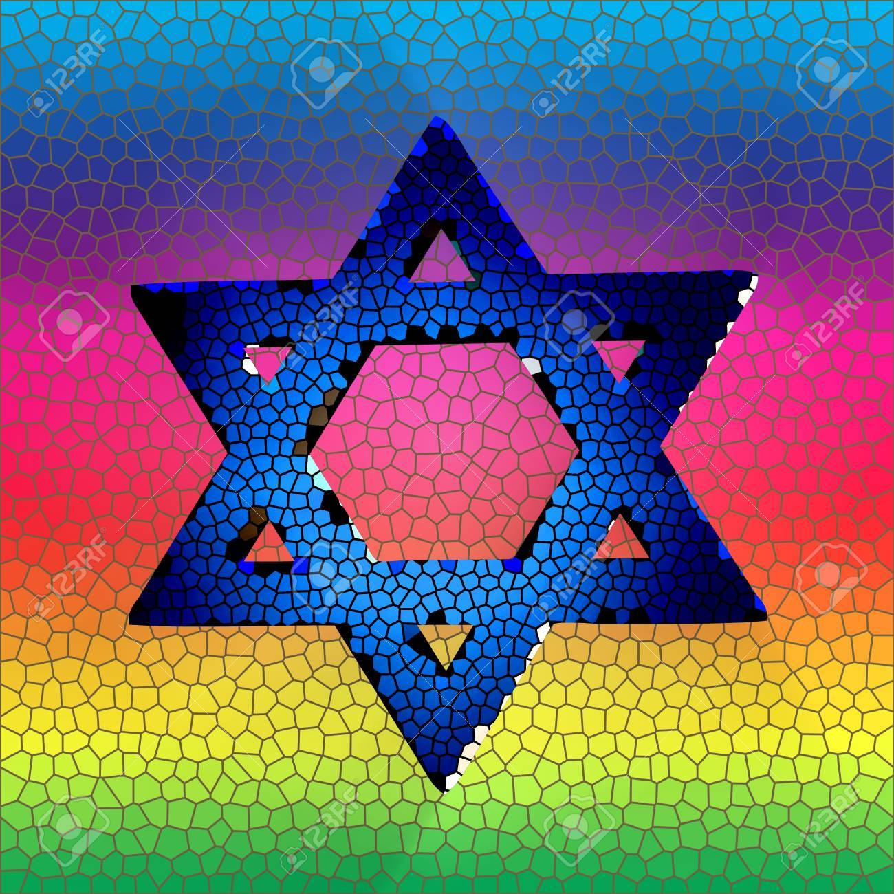 Star of david in stained glass Stock Photo - 13387909