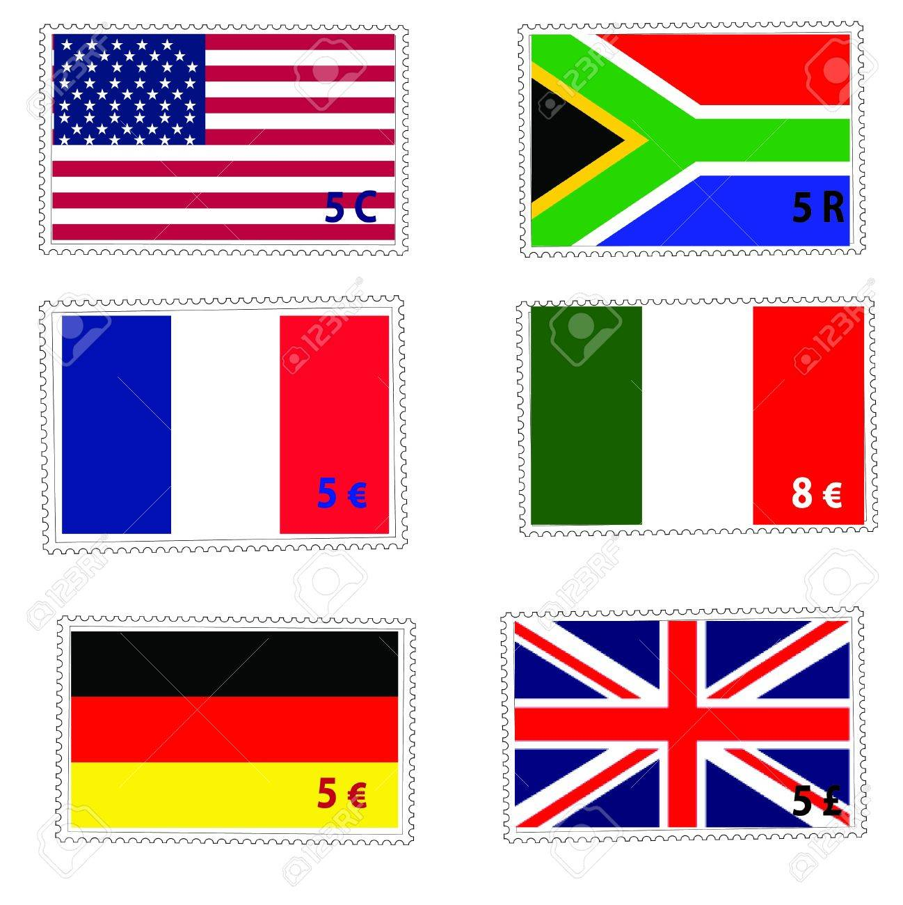 flag postage stamps Stock Vector - 13497269