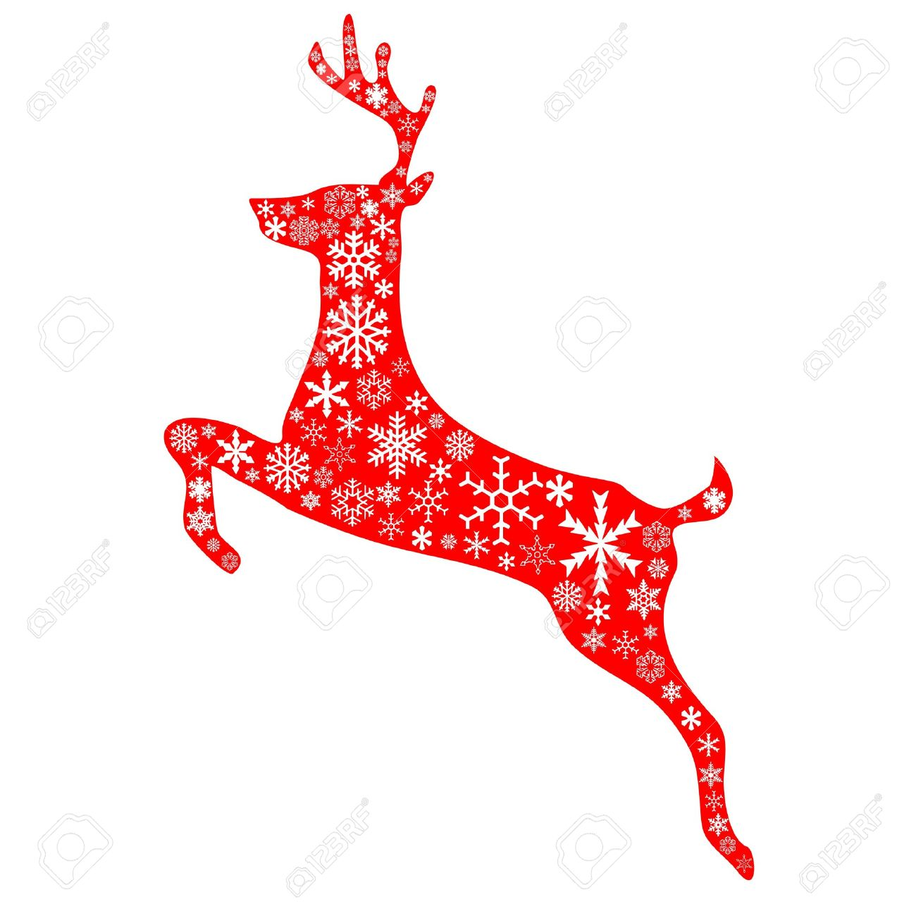 A jumping reindeer in christmas red background and white snowflakes pattern Stock Vector - 15886911