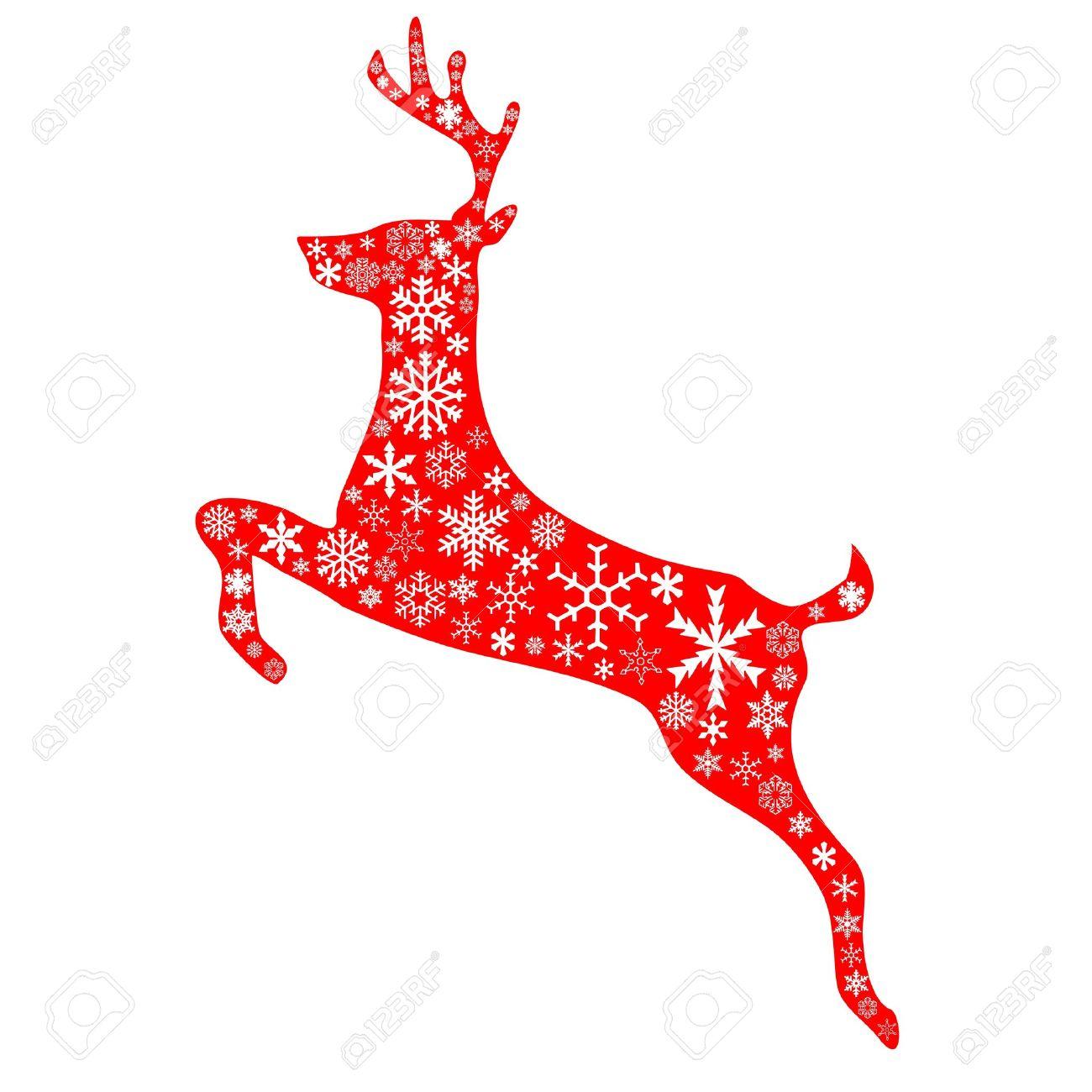 Un Reno Saltando En Navidad Fondo Rojo Y Blanco Patron De Copos De - Ciervo-navidad