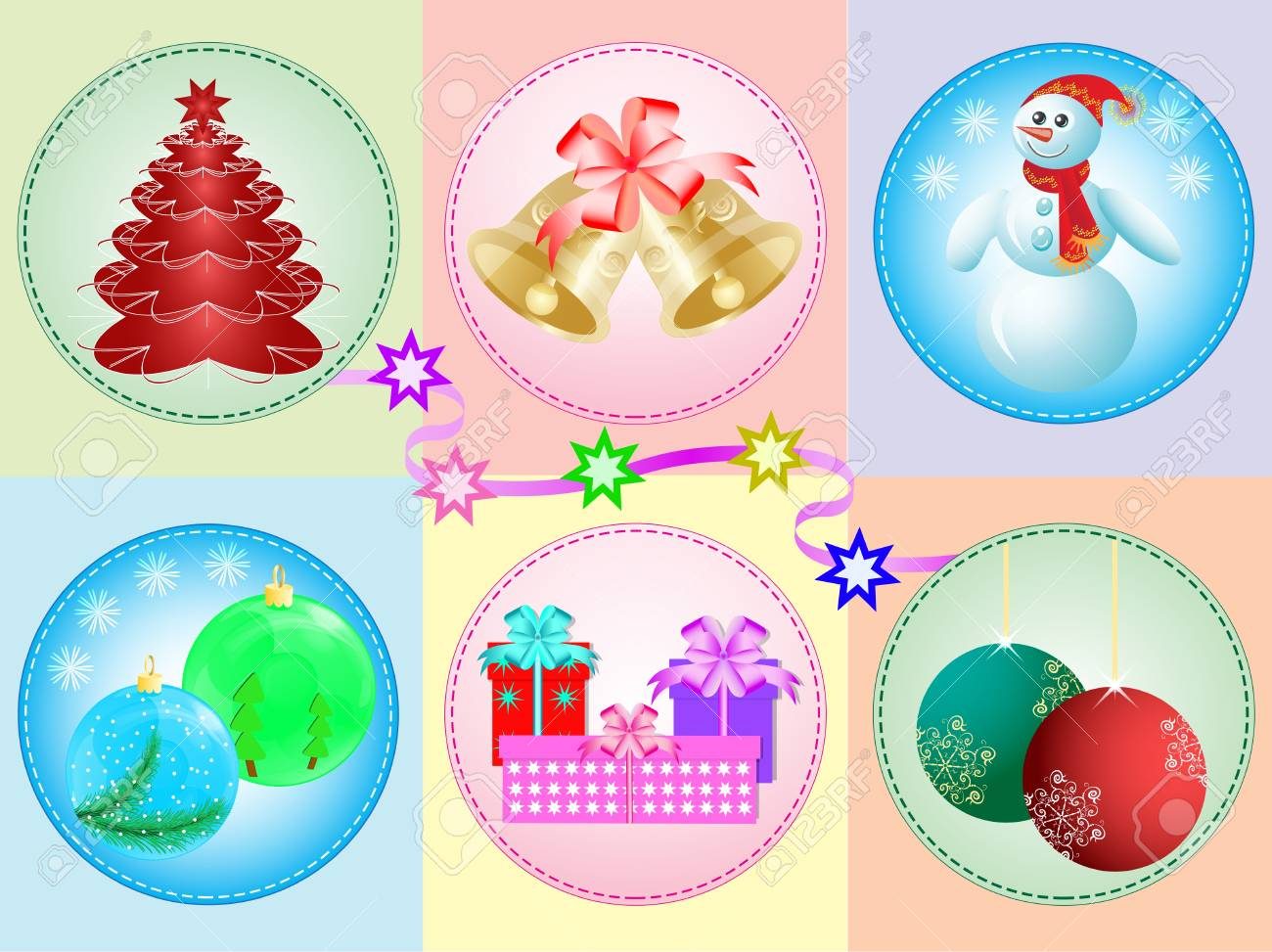 Vector Illustration: vector set of Christmas toys Stock Vector - 11407888