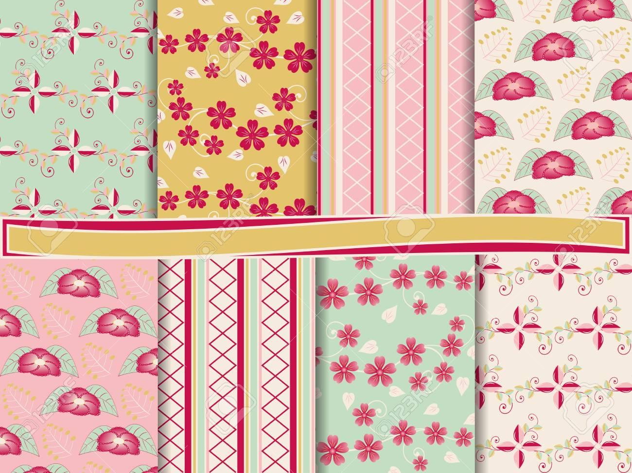 abstract floral vector set of scrapbook paper Stock Vector - 13485932