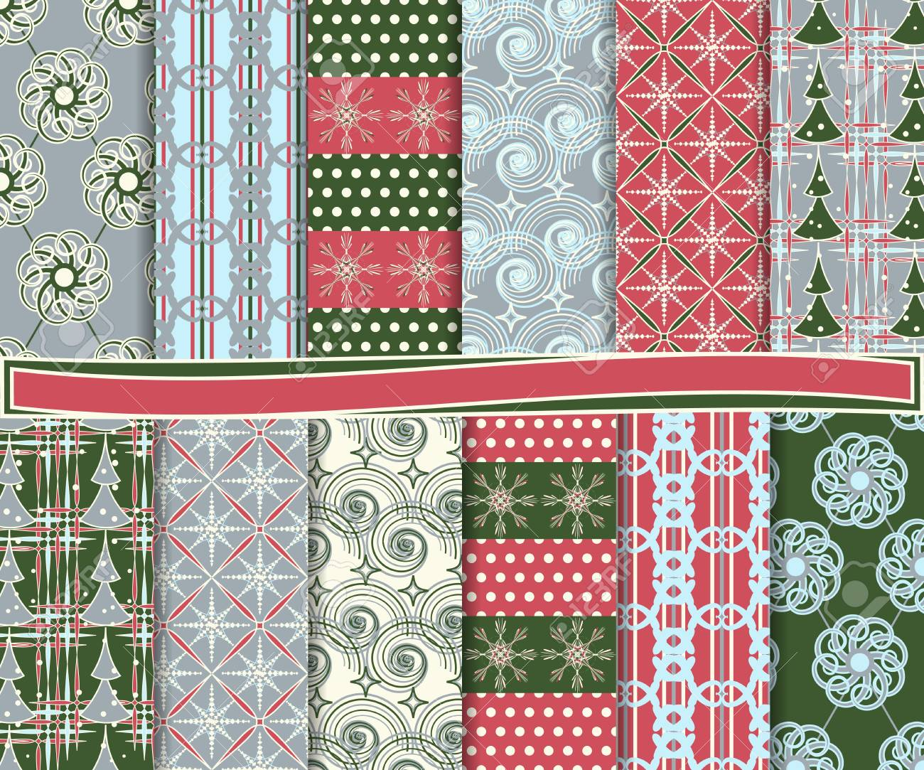 Abstract vector set of Christmas paper for scrapbook Stock Vector - 16258249