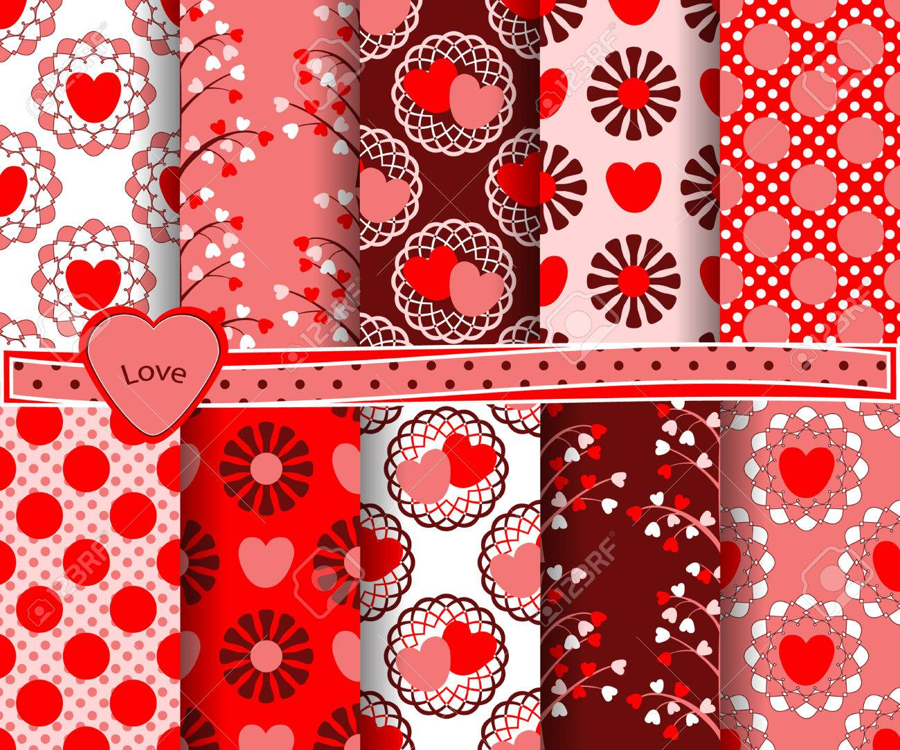 Set Of Vector Abstract Valentine S Day Paper For Scrapbook N