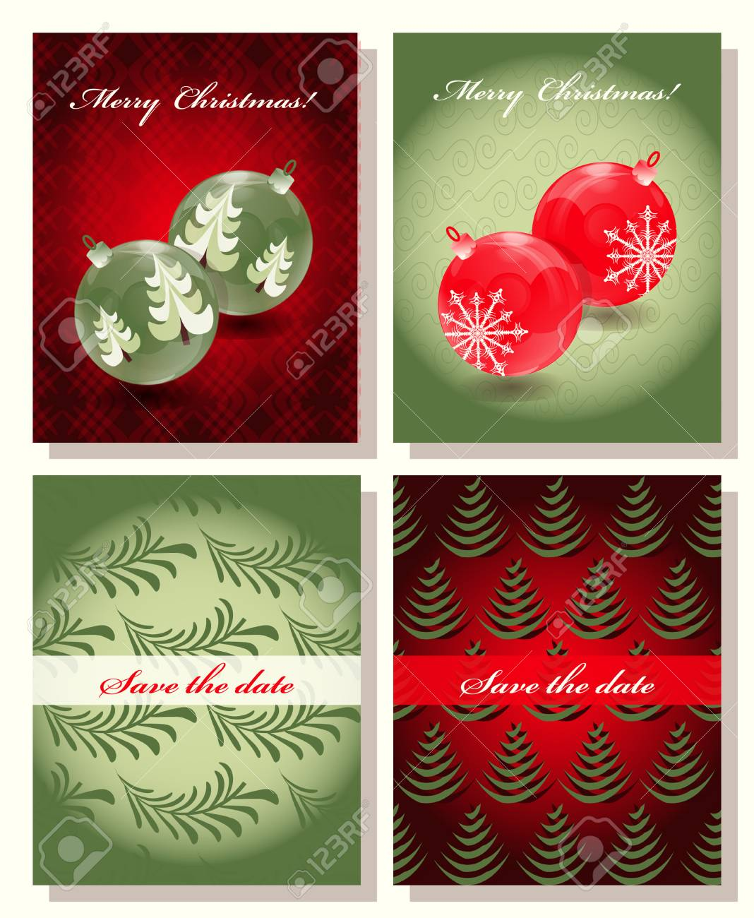 set of christmas abstract vector template save the date royalty