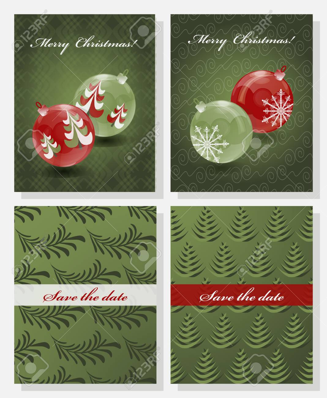 Christmas Save The Date Free Template.Set Of Christmas Abstract Vector Template Save The Date
