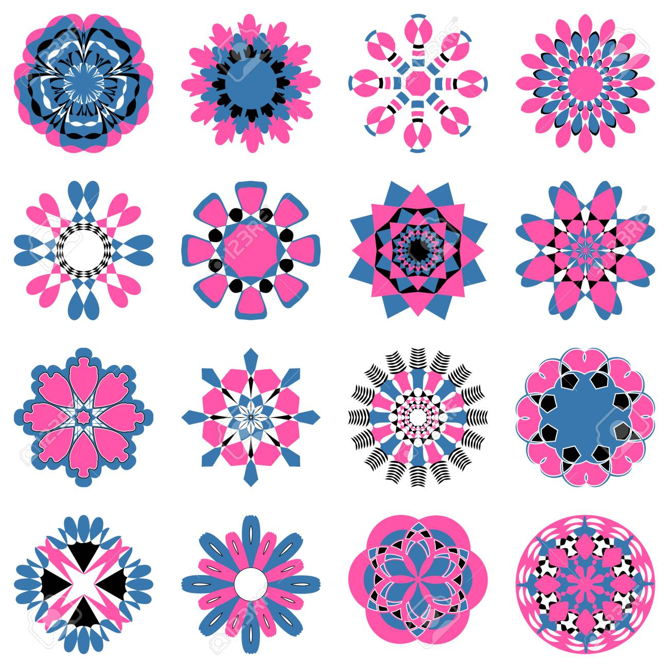 vector set of abstract circular patterns decorative flowers royalty