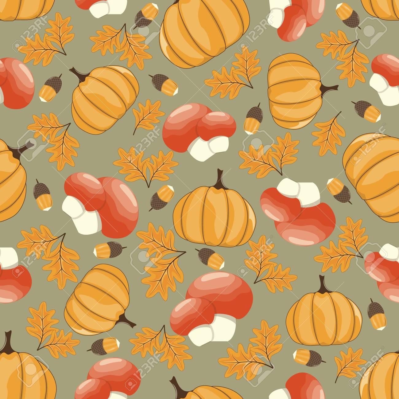 Autumn Seamless Pattern Scrapbook Design Elements Thanksgiving