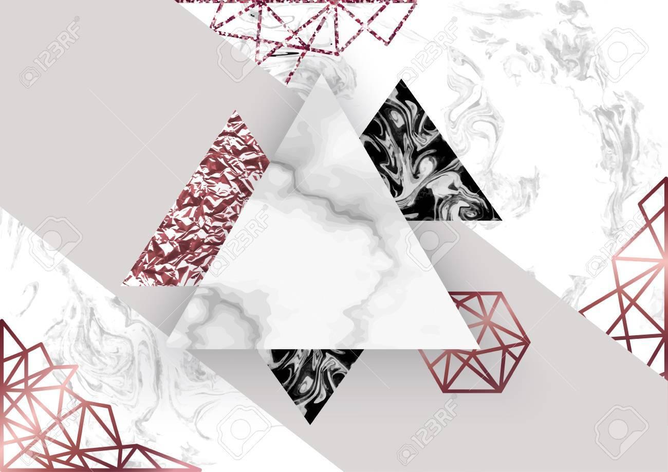Fond De Rose De Marbre En Style Geometrique Minimaliste A La Mode Avec De La Pierre Du Papier Peint Des Scintillements Des Textures Metalliques Des Triangles Un Modele Pour Affiche Invitation Fond