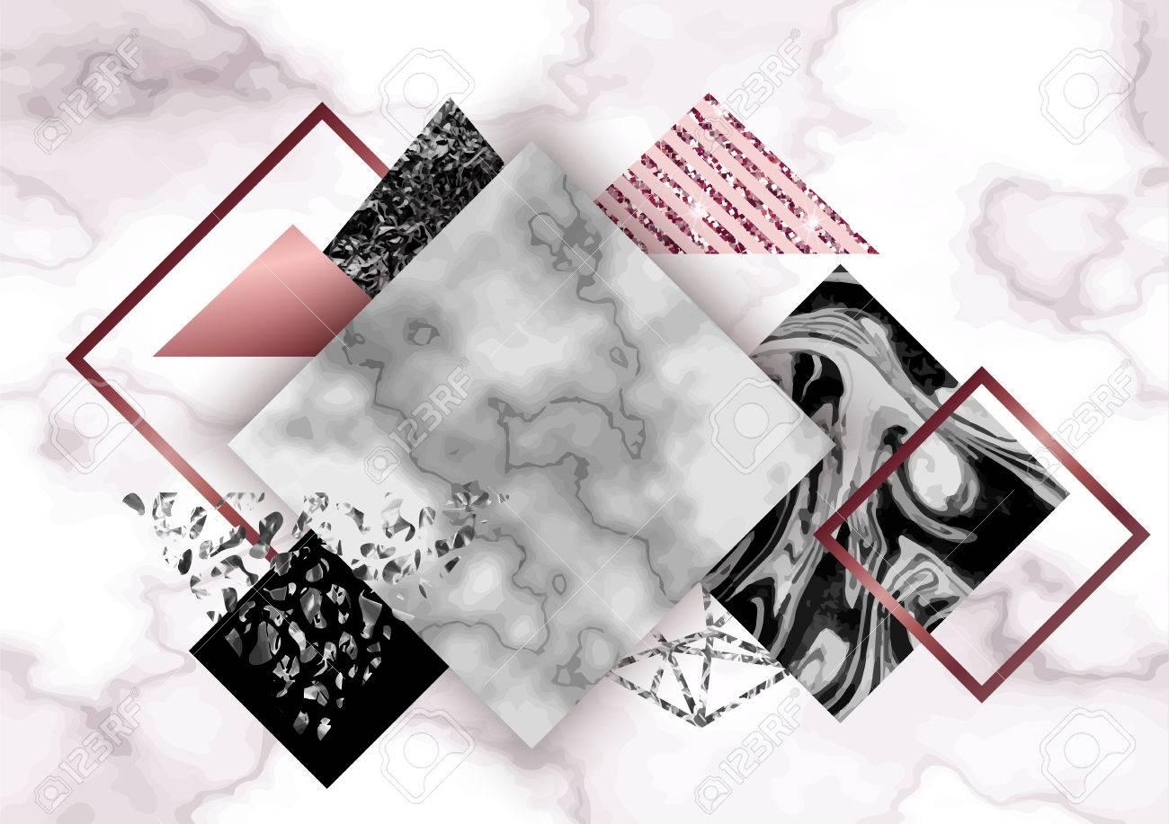 Fond De Rose De Marbre En Style Geometrique Minimaliste A La Mode