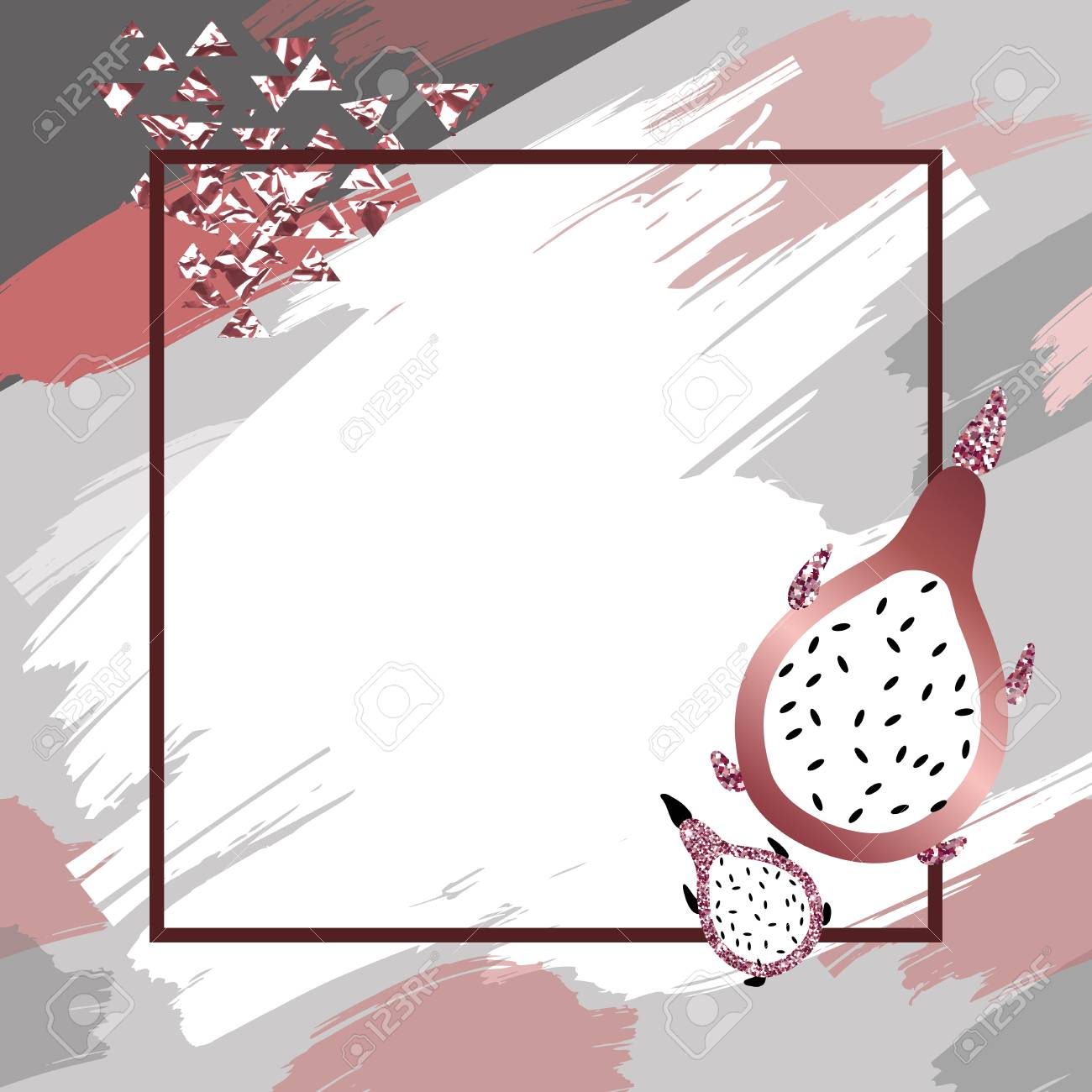 81593073 dragon fruit and marble rose background in trendy minimalist geometric style with stone foil glitter