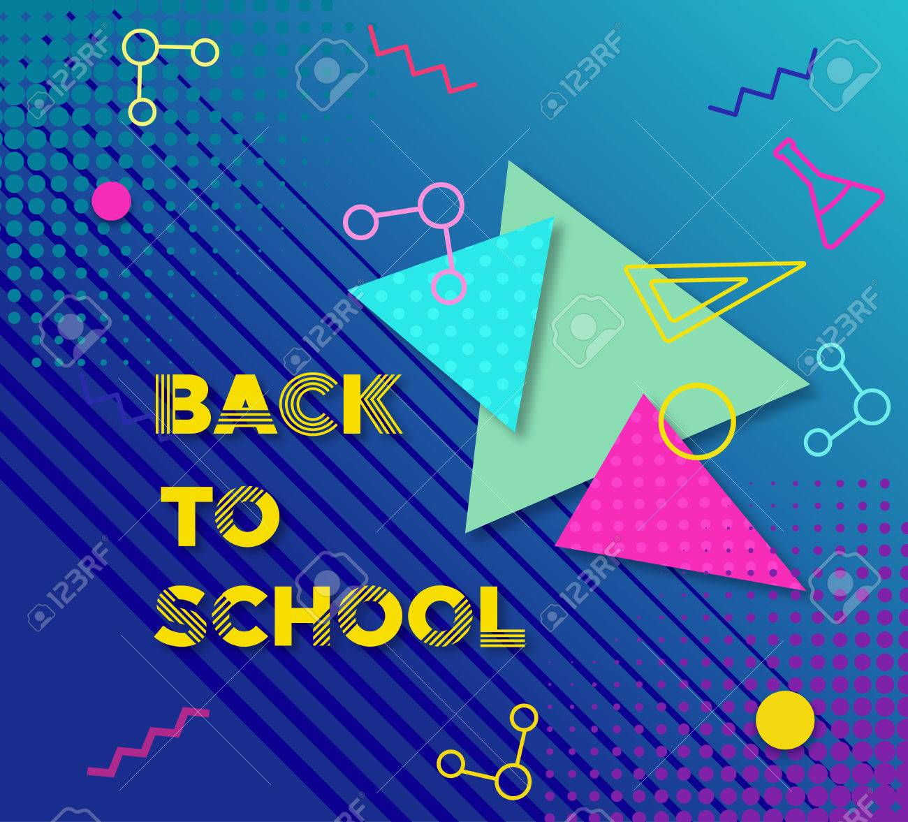 Back To School Banner In Trendy 90s Geometric Style With Lines