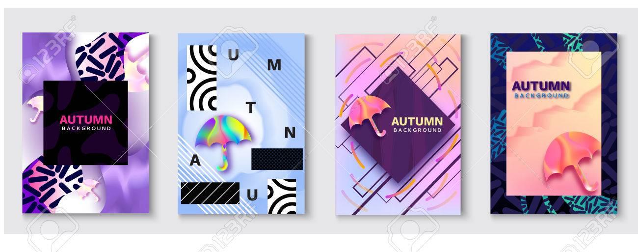 gran venta códigos de cupón sobornar auténtico Conjunto de póster de color abstracto de paraguas, concepto de temporada de  otoño en el estilo de moda 90 con gradientes de fluido, líneas, textura ...