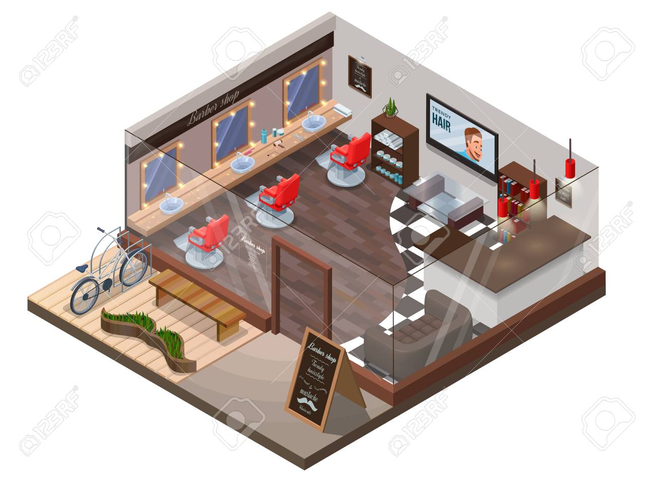 Isometric 3d Barber Shop Interior Hipster Hair Salon Design Royalty Free Cliparts Vectors And Stock Illustration Image 83835071