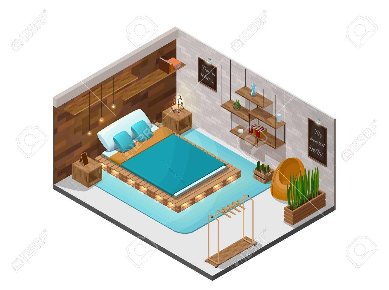 Interior wooden shelves free vector - Bedroom Isometric Infographic 3d Cozy Interior With Pallet Diy Wooden Furniture Shelf Terrarium Lamp