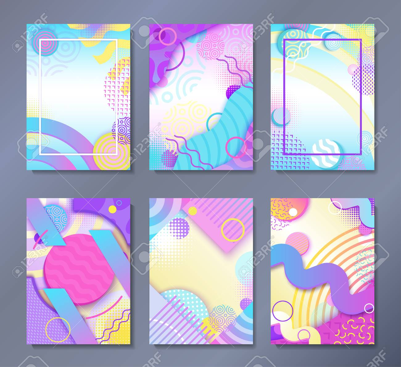 Abstract posters set in trendy 80s-90s Memphis style with patterns,