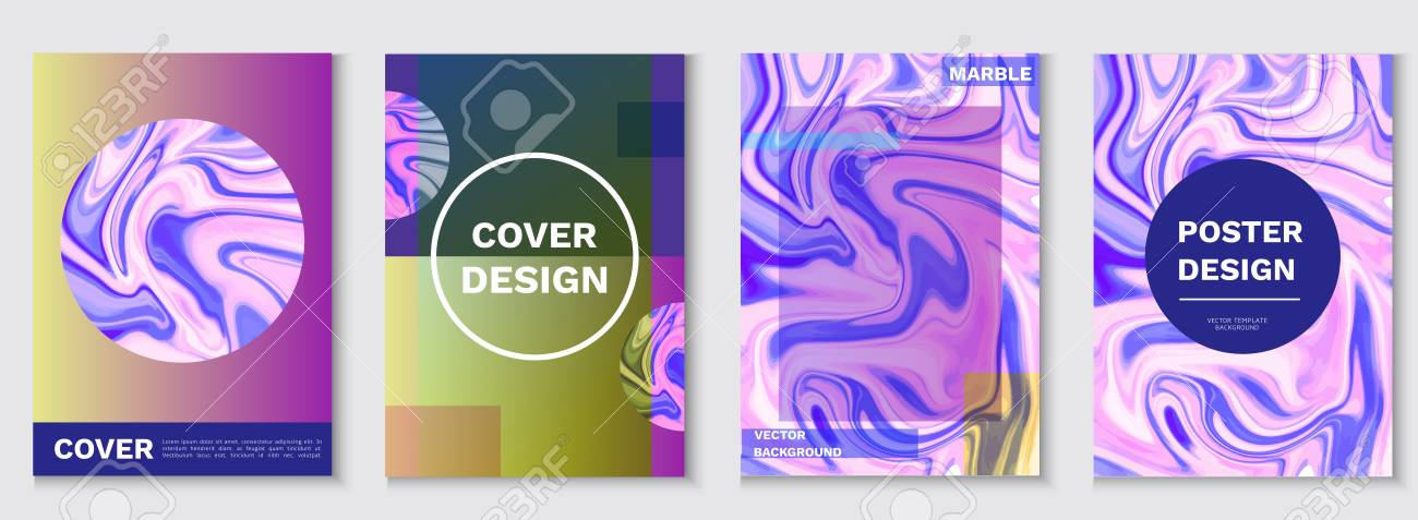 Marble posters set, liquid shapes, waves, fluid pattern, hipster