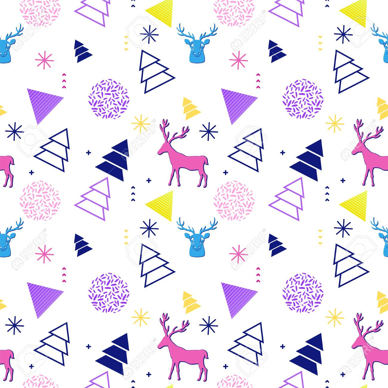 90s Christmas Background.Merry Christmas Geometric Seamless Pattern In Trendy 90s Style