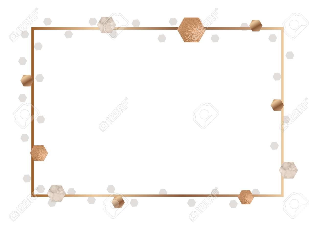 Golden Frame For Invitation Or Brochure Banner Marble Background