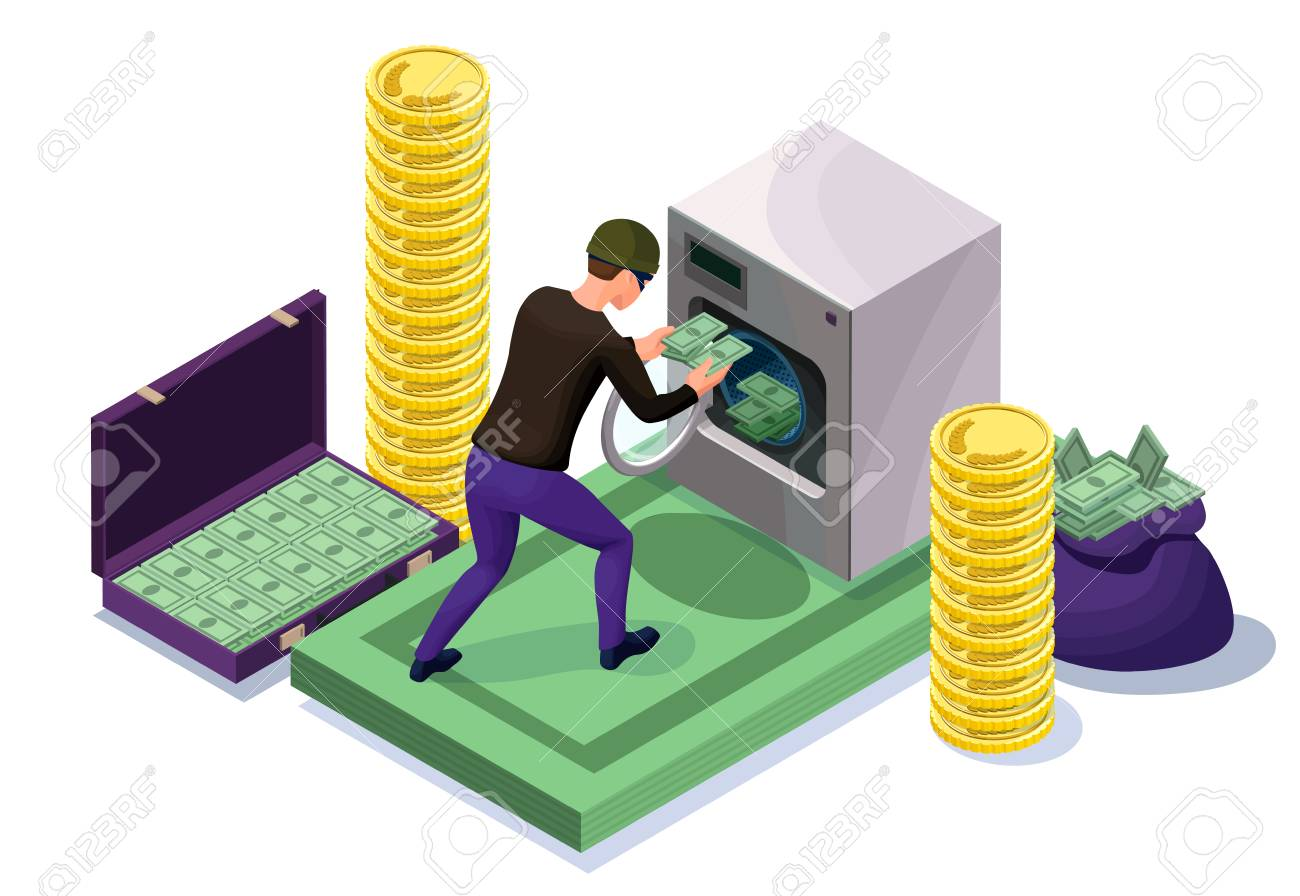 Criminal washing banknotes in machine, money laundering icon with bandit, financial fraud concept, isometric 3d vector illustration - 93334929