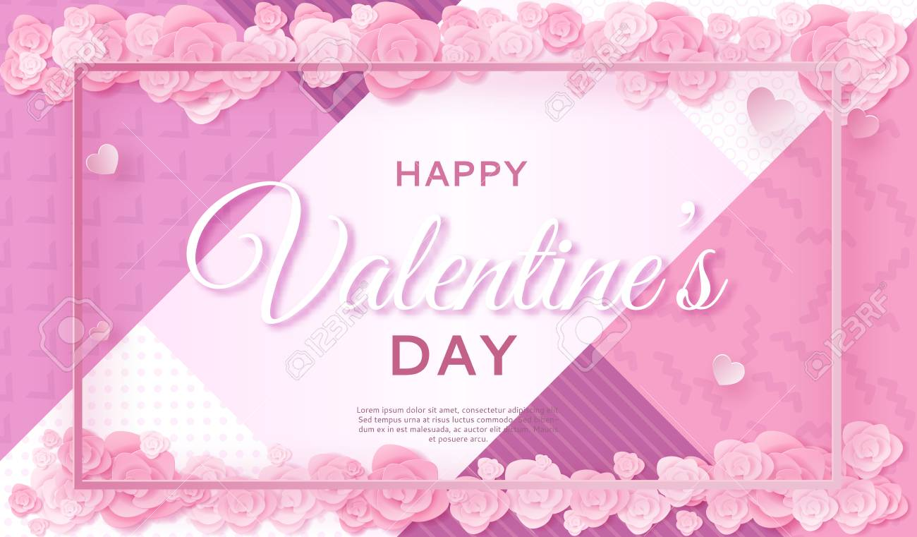 Valentines Day Banner In Trendy Paper Art Style With Carved Heart