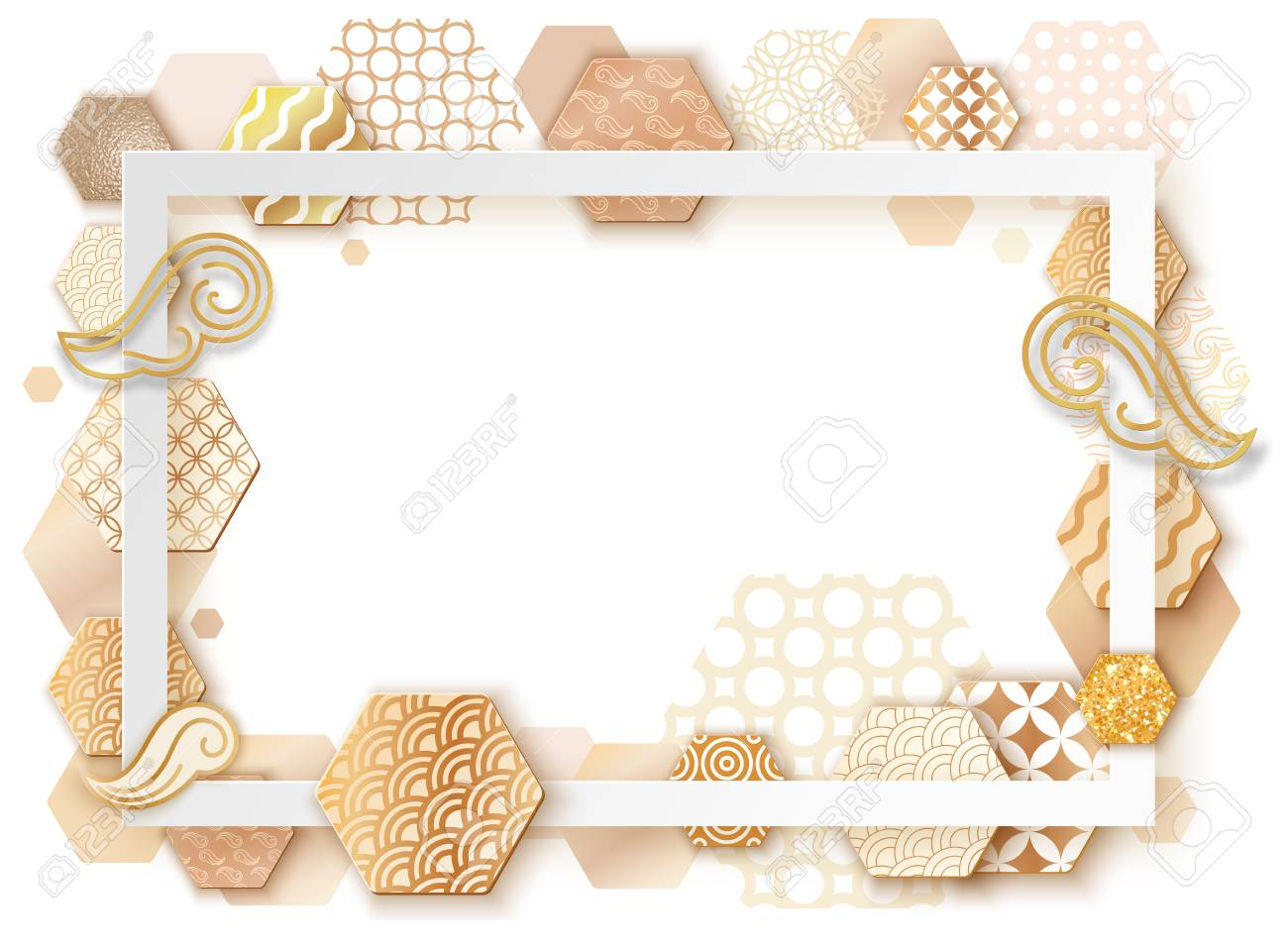 Golden Frame With Japan Wave Pattern Paper Art Brochure Card