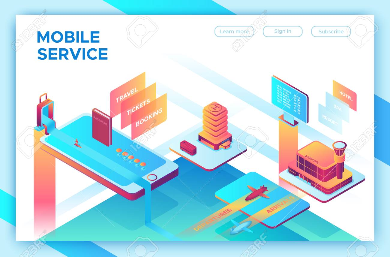 Mobile travel concept, landing page template with isometric 3d