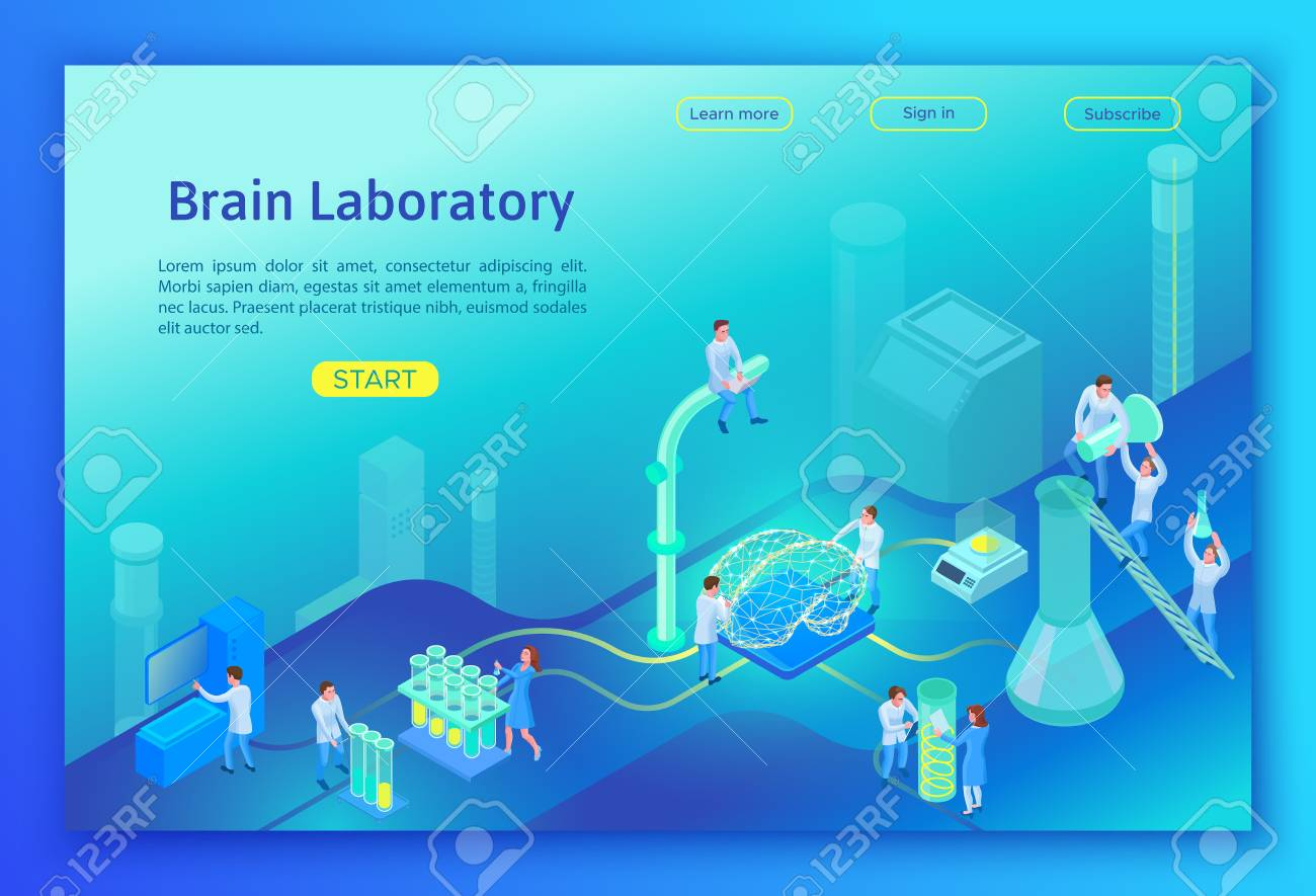 Laboratory researching brain isometric concept, landing page template with 3d equipment, people doing scientific experiment and analysis, modern lab vector illustration - 110286546