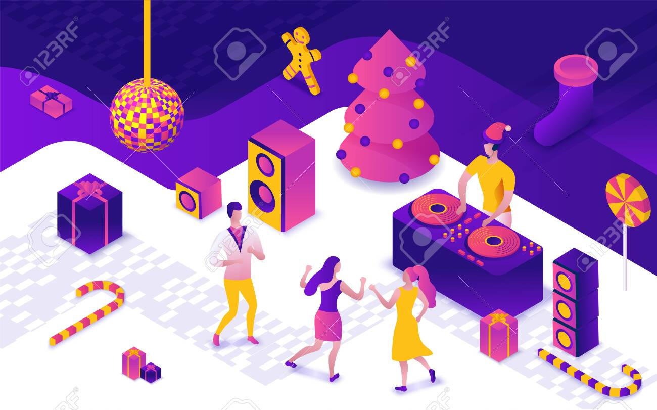 Christmas Disco Clipart.New Year Party 3d Isometric Illustration Dj Playing Club Disco