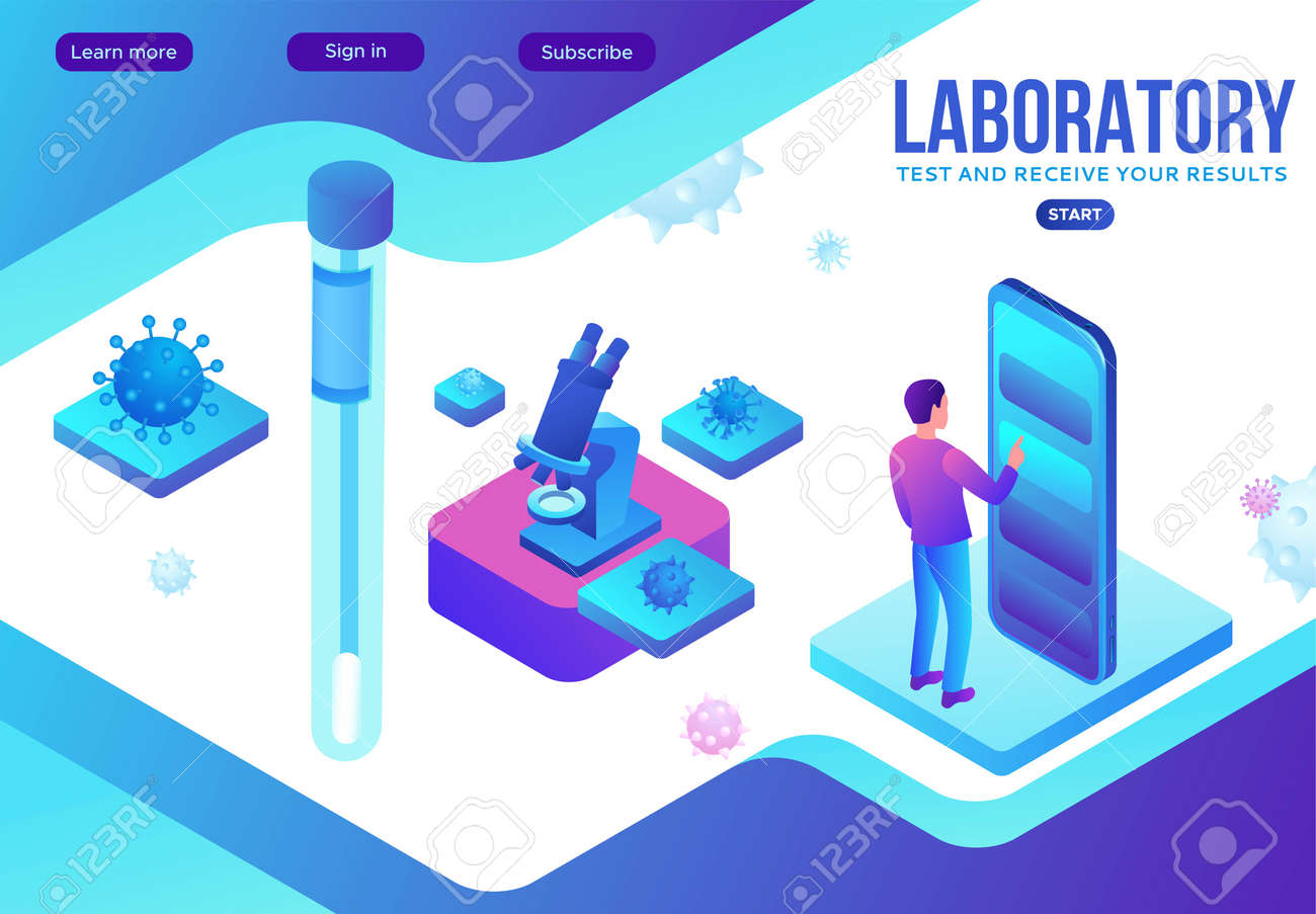 Covid-19 nasal swab test, isometric medical concept, Coronavirus vector icon, people in mask in laboratory, modern design, infographic illustration, landing page template - 158843634