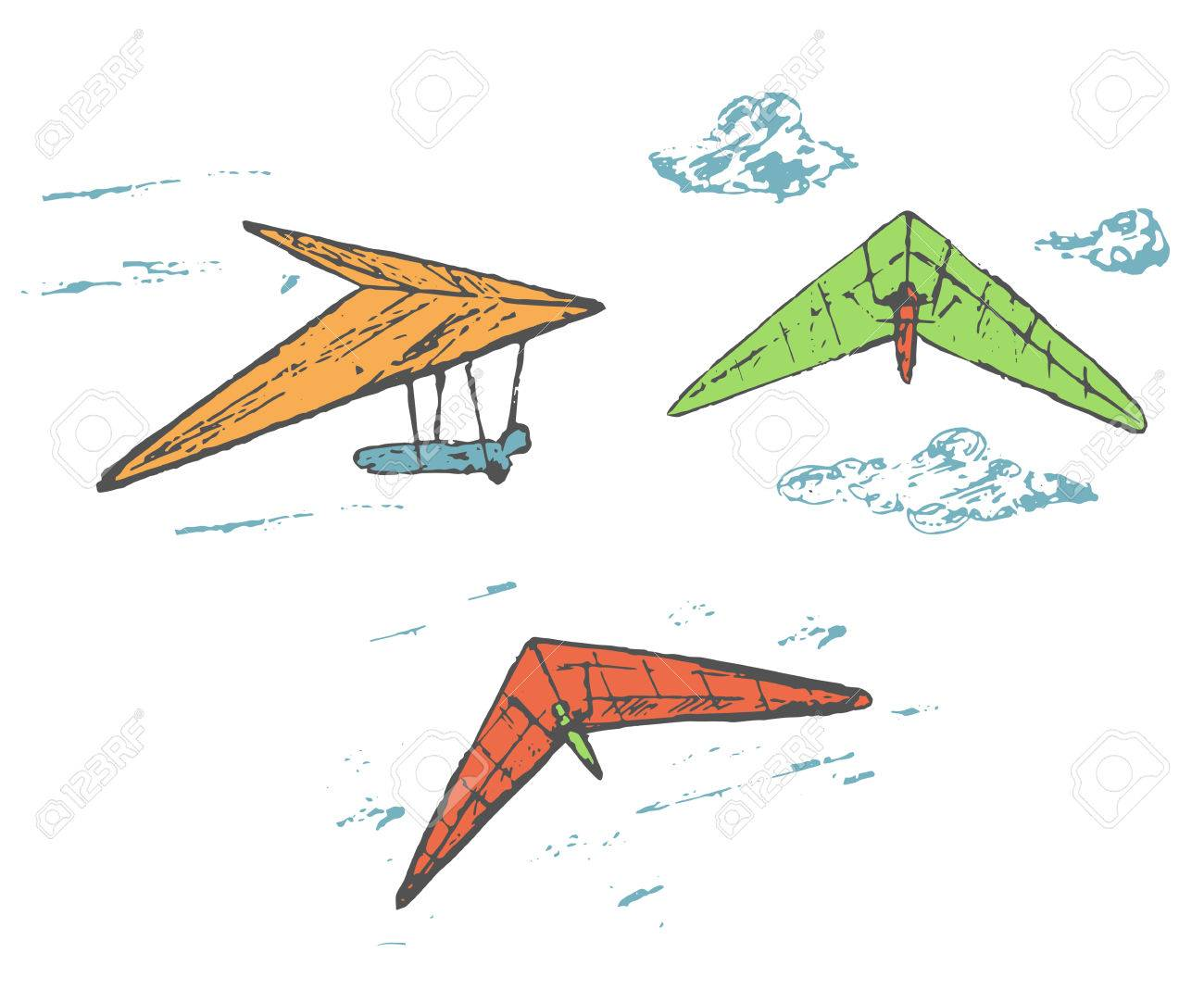 Hand drawn sketch hang glider, delta plane collection with clouds