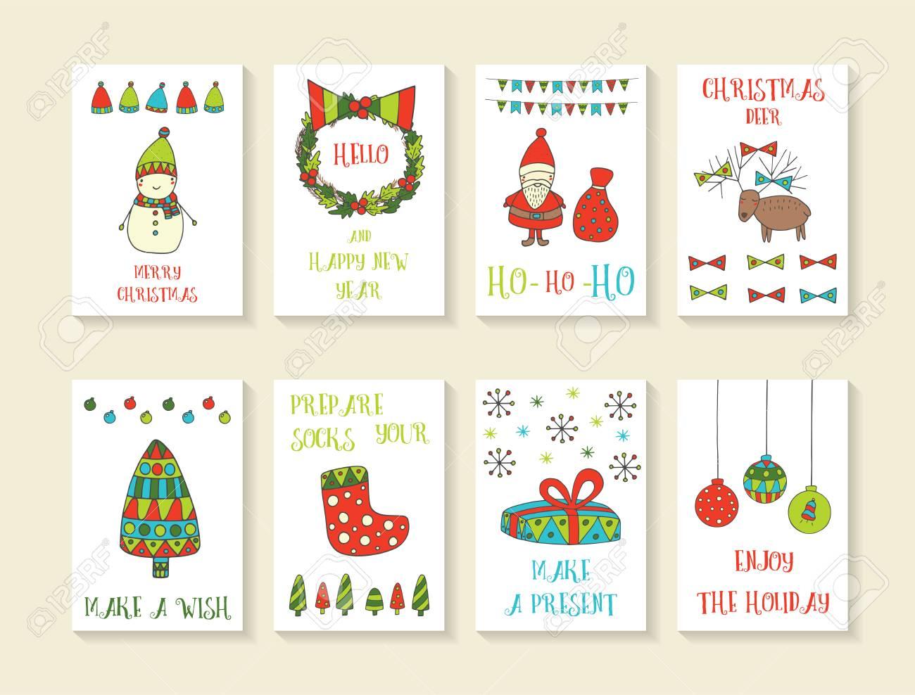 Cute Christmas Cards.Cute Hand Drawn Doodle Christmas Cards Brochures Postcards