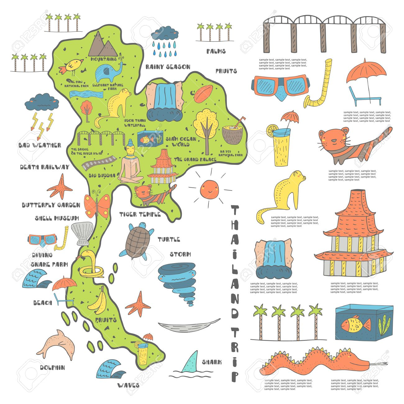 Cute Hand Drawn Doodle Thailand Map With Objects Including Buddha - Thailand map