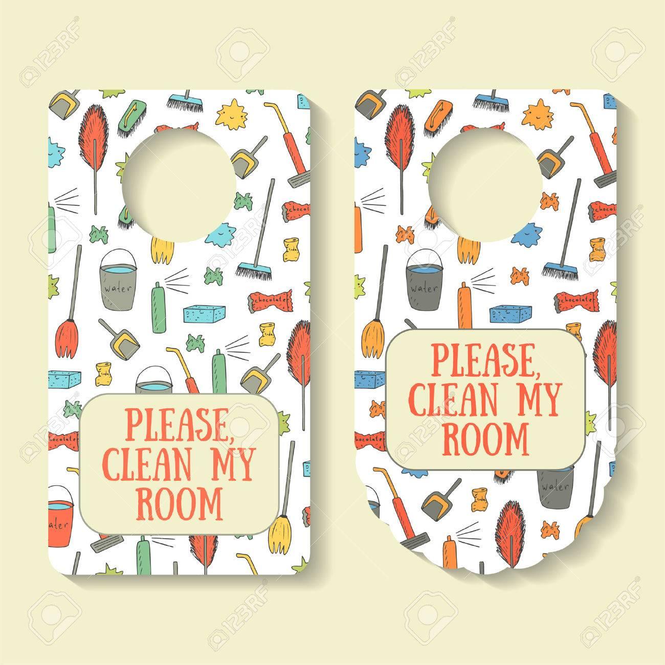 Please, clean my room banner for door interior with brush, rubbish, vacuum cleaner, broom, shovel, bucket with water, sponge, fresher. Door handle creative doodle sign - 53897389