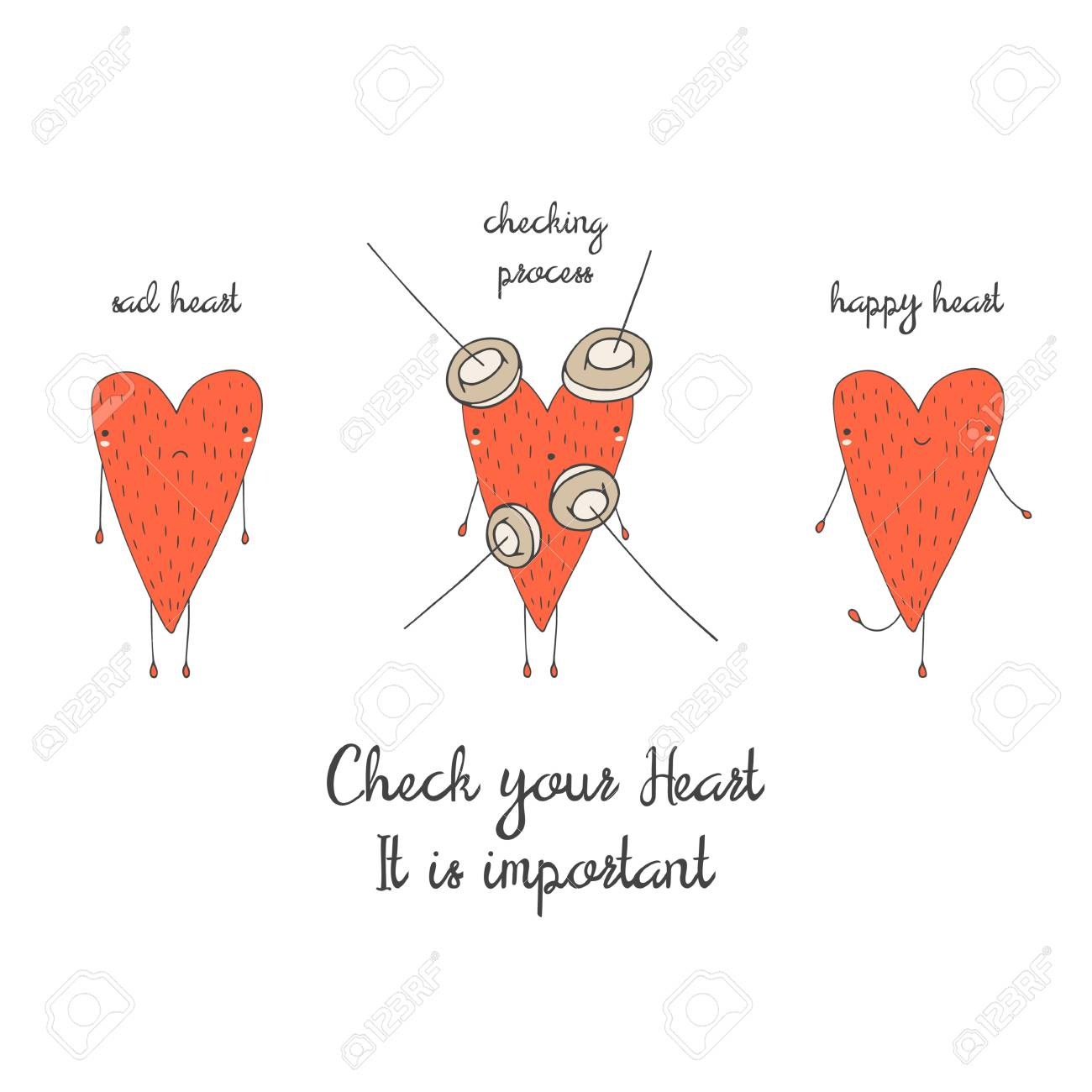 Cute hand drawn doodle card, brochure, poster with heart. Heart health background. Heart checking motivating postcard - 53897398