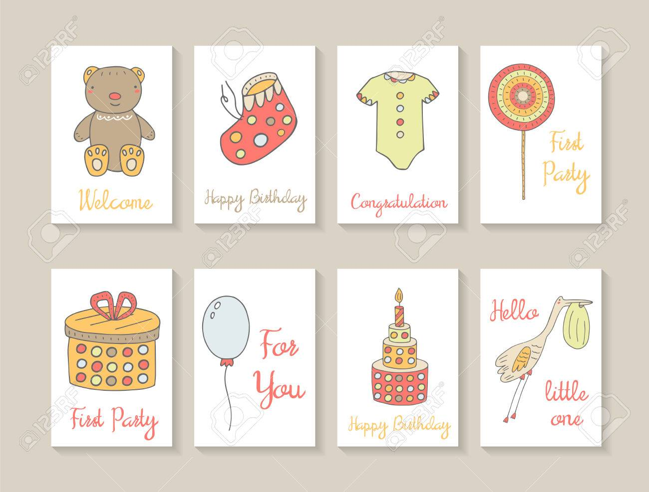 cute hand drawn doodle baby shower cards brochures invitations with teddy bear baby