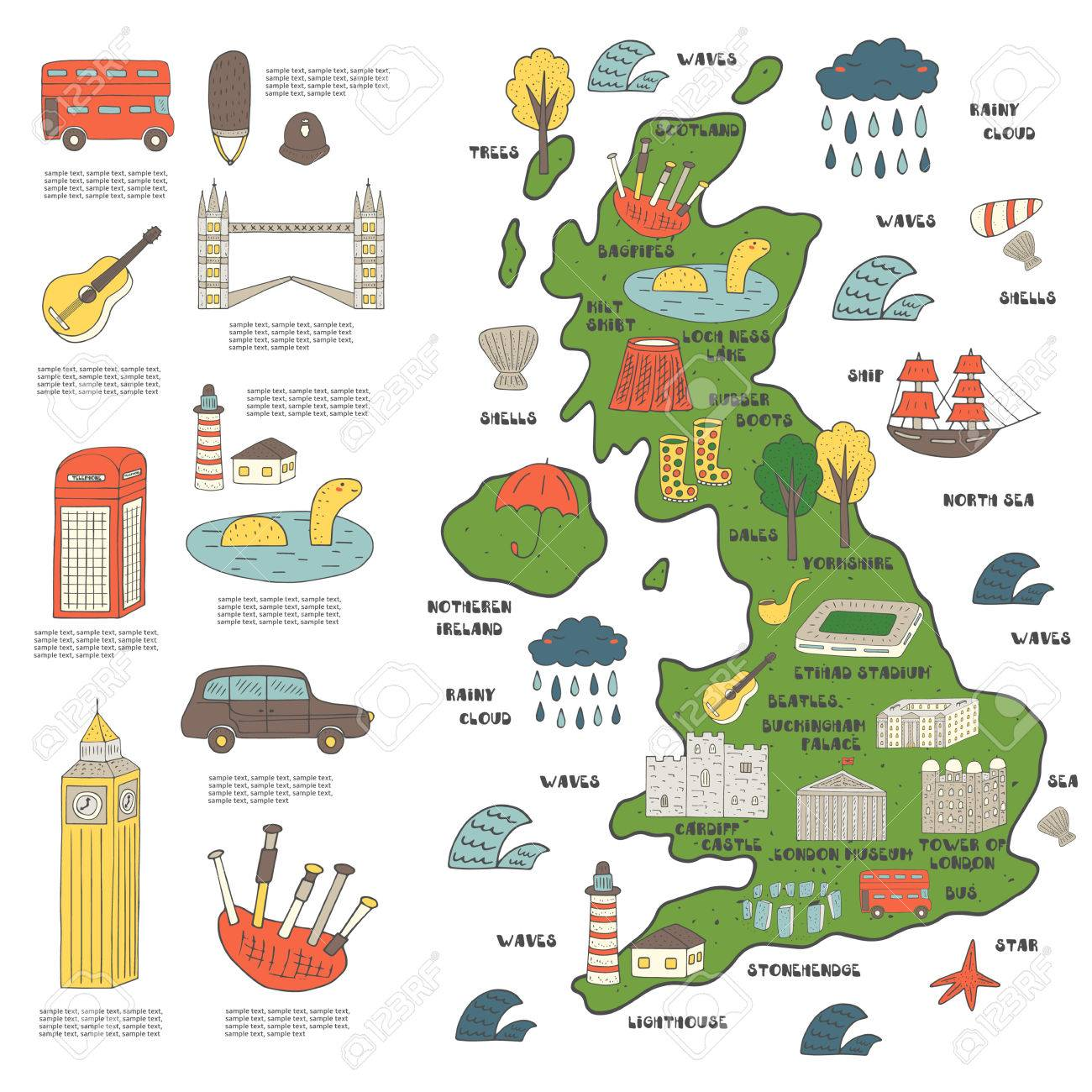 Big Map Of England.Cute Hand Drawn Doodle Map On England With Sightseeing And Objects