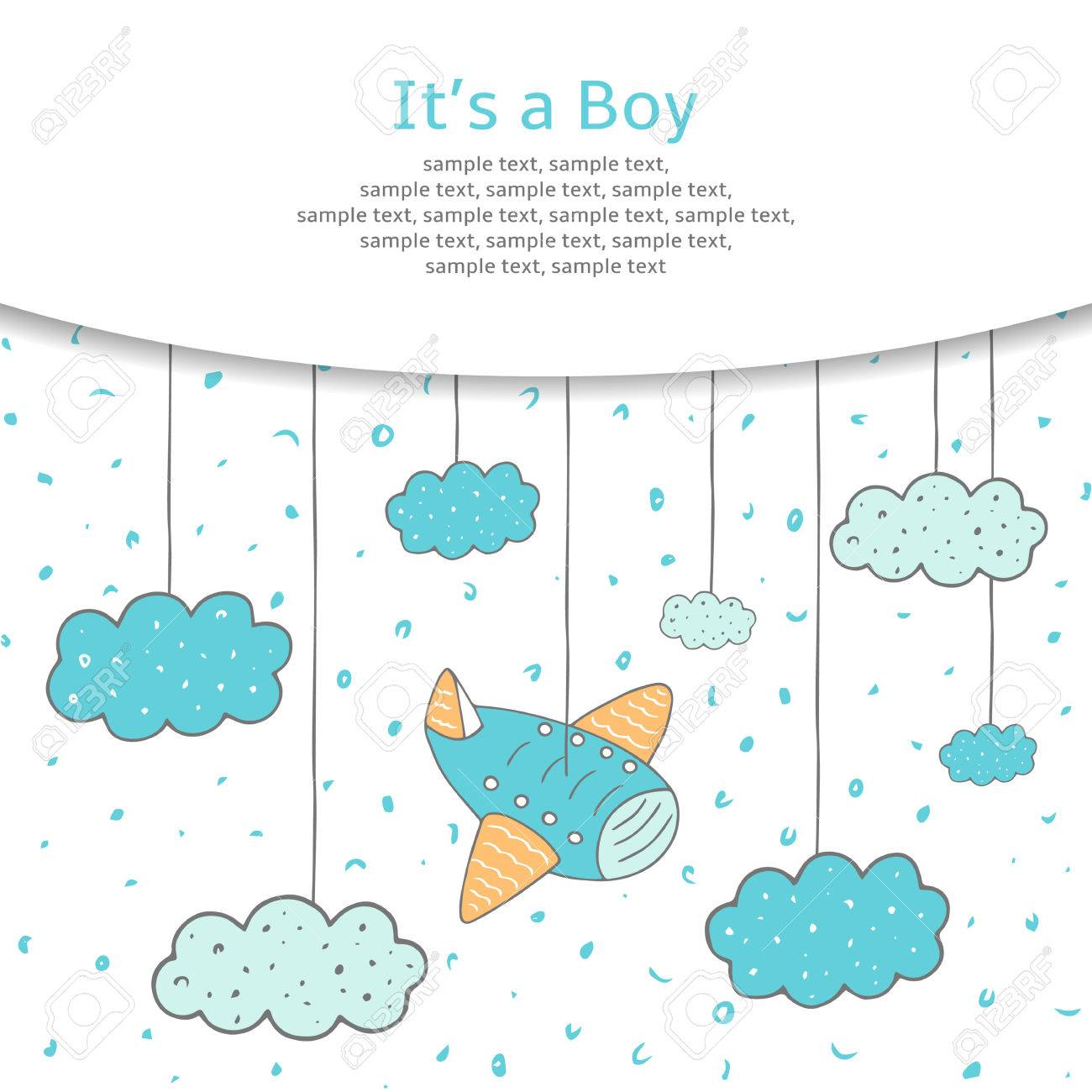 Cute hand drawn doodle baby shower card, cover, background with plane and clouds in the sky. It is a boy postcard. - 53900293
