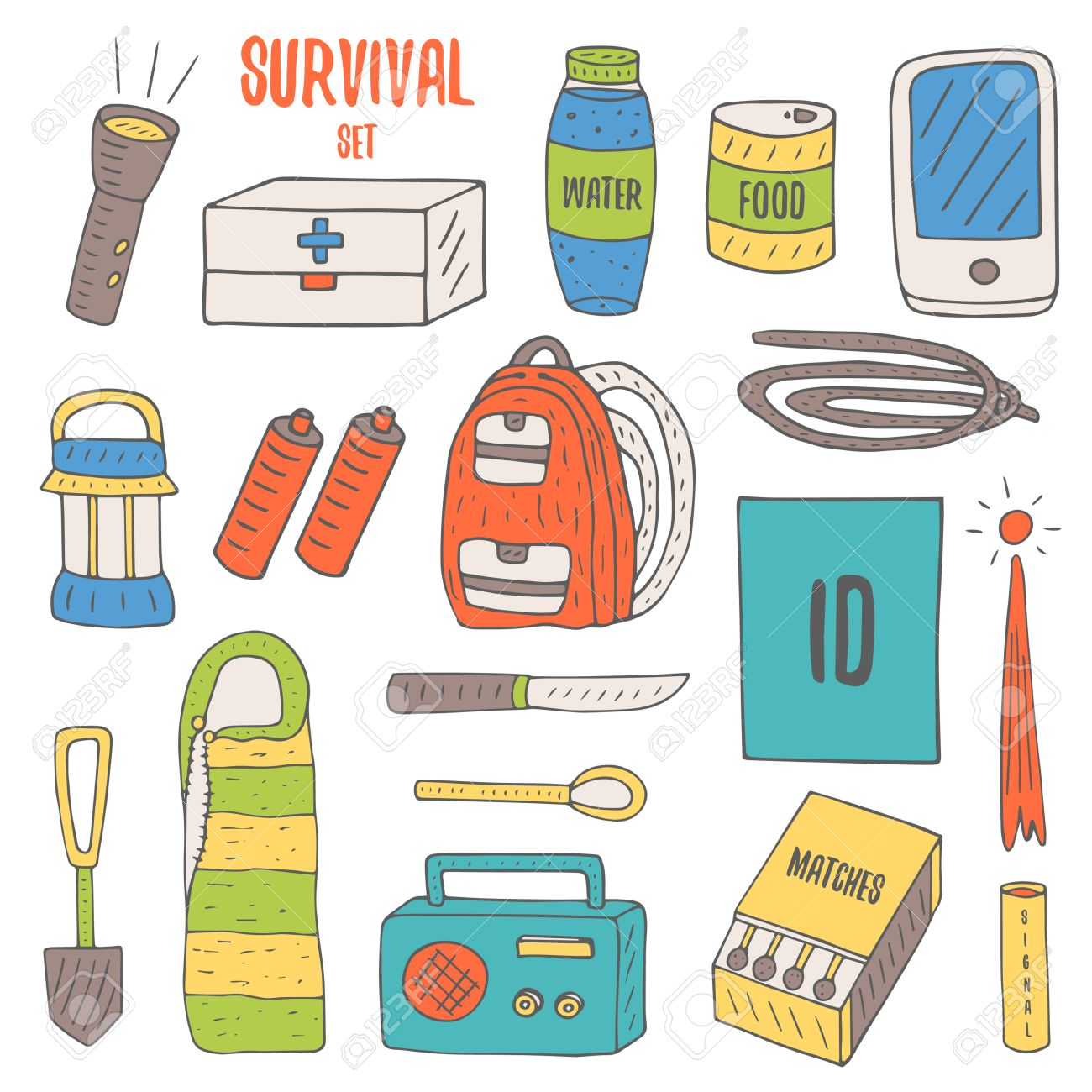 Doodle Objects For Survival In Catastrophe, Camping Including ... for Matches Clip Art  177nar