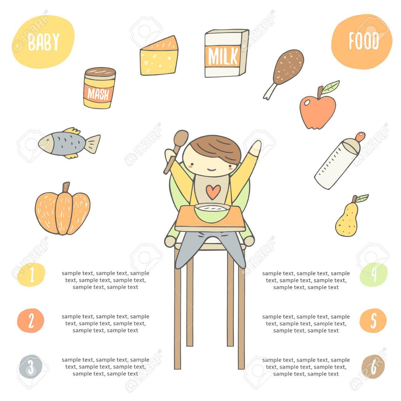 Carte Doodle Dessin La Main Mignonne Affiche Avec Enfant Heureux Dans Chaise De Manger Un Repas Collection Alimentaire Y Compris Citrouille