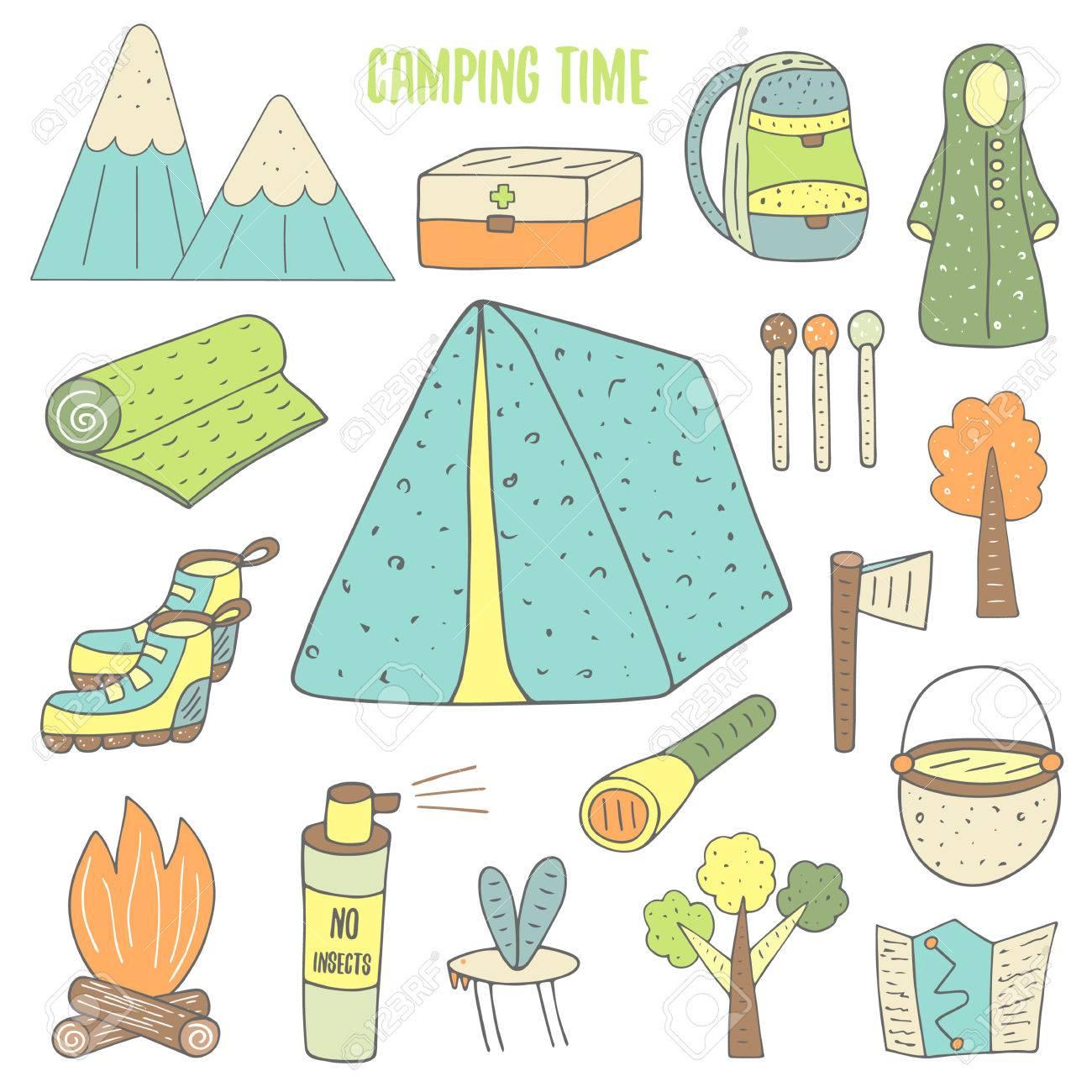Teppich gezeichnet  Nette Hand Gezeichnete Doodle Camping-Objekte Sammlung ...