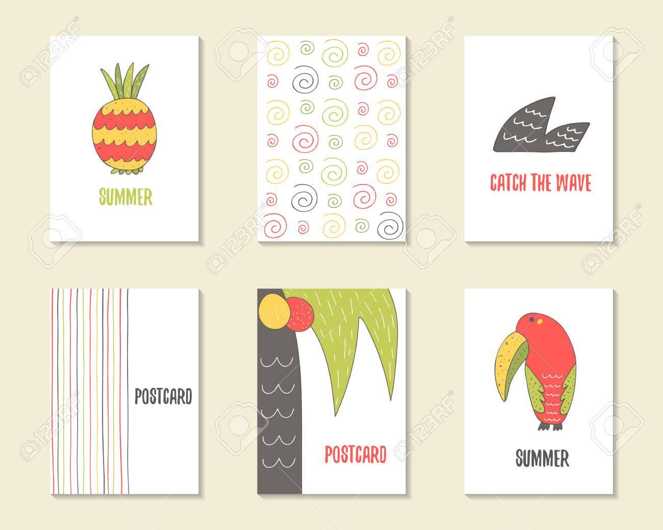 Dibujados Mano Linda Del Cumpleaños Del Partido Tarjetas De Baby Shower Folletos Invitaciones Con Piña Onda Palma Coco Tucán Remolinos