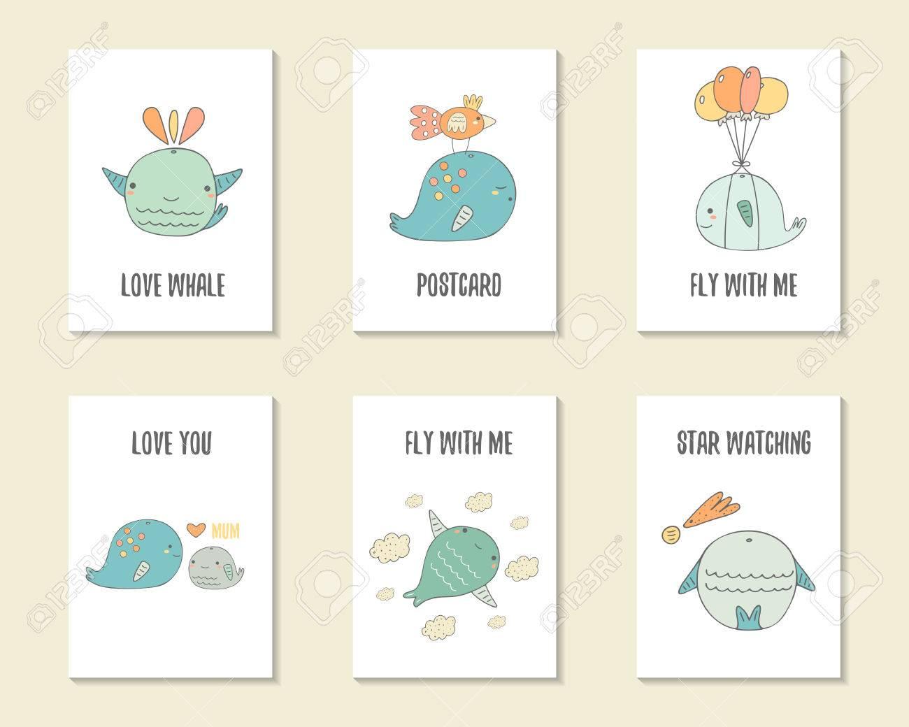 Dibujados Mano Linda Del Cumpleaños Del Partido Ducha Del Bebé Tarjetas Folletos Invitaciones Postales Con Las Ballenas Objetos De Dibujos