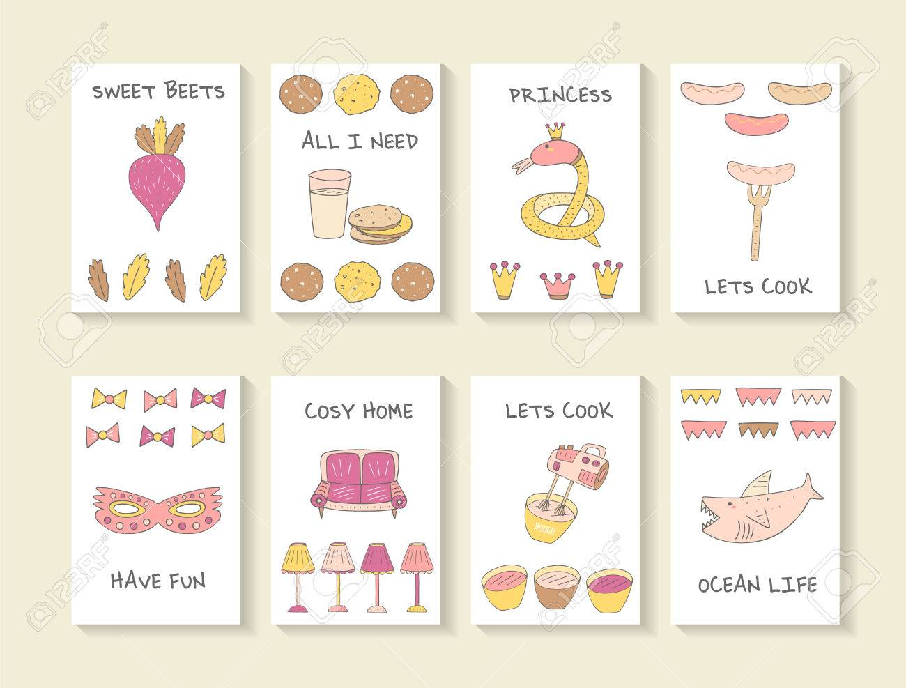 Cute hand drawn doodle baby shower cards, brochures, invitations with beat, cookie, glass of milk, snake, crown, sausage, fork, mask, sofa, lamp, mixer, shark. Cartoon objects, animals background - 54766075